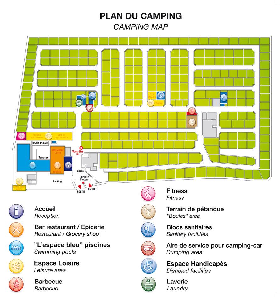 Plan du camping abri de camargue for Tarif location garage pour camping car